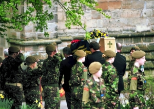 Jason's funeral with Army cadets as guard of honour 1 April 2011 (photo-courtesy of Ashbourne News Telegraph)